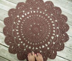 "Chocolate Brown Patio Porch Cord Crochet Rug in 35"" Round Pineapple Pattern on Etsy, $80.00"