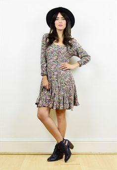 90s+floral+print+long+sleeved+mini+grunge+dress