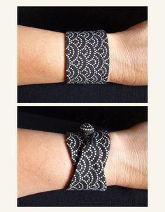 Bracelet obi Black sashiko tissu japonais 100 coton par Obimaika