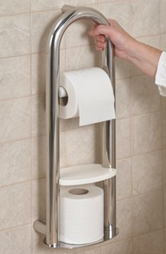 Providing both support when getting up and a place to store toilet roll this Spa Toilet Roll Holder is an excellent bathroom aid!