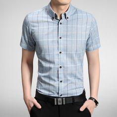 >> Click to Buy << Free shipping short sleeve Business Shirt fashion Men's Formal slim shirts High Quality Plus Size M-5X 5 colors plaid shirts #Affiliate