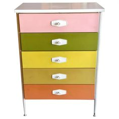 View this item and discover similar for sale at - Cool California design multicolored dresser tallboy, circa nice clean condition white laminate top metal legs with plastic feet at the bottom wood