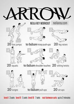 The Arrow Workout / works: quads, calves, abs, shoulders, triceps, biceps, pecs, deltoids, lats