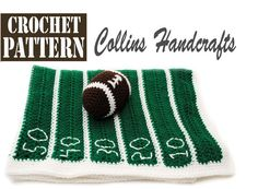 Pattern-Football Field Blanket w/Mini Toy by CollinsHandcrafts