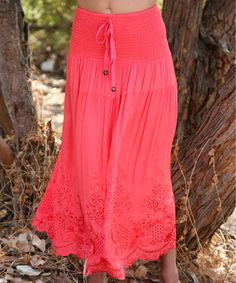 Look what I found on #zulily! Ananda's Collection Coral Eyelet Convertible Skirt by Ananda's Collection #zulilyfinds