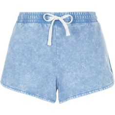 New Look Light Blue Acid Wash Runner Shorts (570 MKD) ❤ liked on Polyvore featuring shorts, bottoms, duck egg, light blue shorts, summer shorts, acid wash shorts, cotton shorts and mini shorts