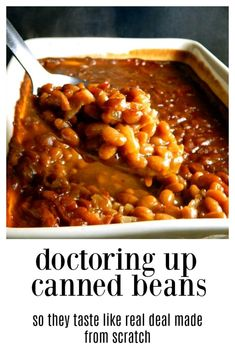 This method of Doctoring Canned Baked Beans is going to have you swearing these are cooked for hours, from scratch home-cooked Baked Beans! # Baking beans Doctoring Canned Baked Beans Baked Beans In Oven, Baked Beans Crock Pot, Canned Baked Beans, Best Baked Beans, Slow Cooker Baked Beans, Baked Bean Recipes, Beans Recipes, Southern Baked Beans, Baked Beans With Bacon