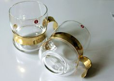 Glass and Gold Punch/Mulled Wine Glasses by FinntageFromFinland