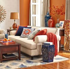 gray and orange living room contemporary orange accent wall in the living room color harmony because it is complementary color scheme of blue and