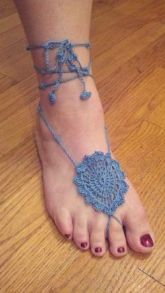 'Blue Pedals' My 2nd Design I created Taking orders if you would like a pair of my designer Barefoot Sandals. I hope they will inspire you to create your own designs! :)