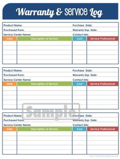 Warranty and Service Log - Printable and Editable Organizing PDF - Household Binder - INSTANT DOWNLOAD