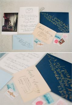 calligraphy wedding invite  #weddingchicks http://www.weddingchicks.com/2013/12/20/red-and-navy-wedding-ideas/