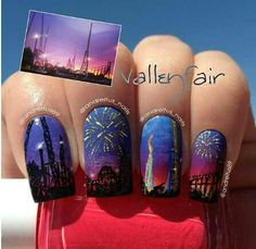 Fireworks in the city nail art!!! So cool!