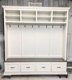 THE AMANA 4 section Entryway bench with shoe storage and coat rack/hall tree/mudroom furniture/mud bench/shoe bench/hall tree with storage White Bench Entryway, Shoe Storage Bench Entryway, Entryway Furniture, Bench With Storage, Shoe Bench, Mudroom Benches, Furniture Ideas, Mudroom Cubbies, Mudroom Cabinets