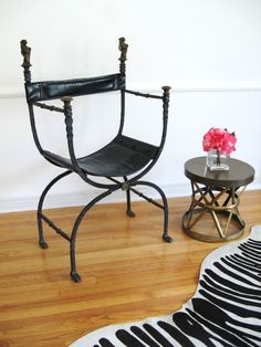 ANTIQUE Wrought IRON CAMPAIGN Throne Chair, etsy fabulousness