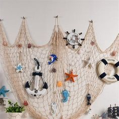 decorative fish net mermaid Party Ocean Party Pirate decorations diy wall stickers hanging decorations for kids birthday party Gadgets, Fish Net Decor, Party Wall Decorations, Sea Decoration, Hanging Decorations, Deco Marine, Pirate Decor, Hawaiian Luau Party, Diy Wall Stickers
