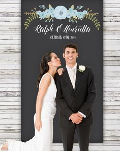 Personalized Wedding Backdrop with Flowers For Rustic Wedding, 4'x7' Custom photo backdrop printed on Vinyl