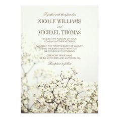 Soft Vintage Baby's Breath Wedding Invitations