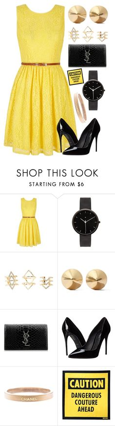 """""""Caution: Dangerous Couture Ahead"""" by bandlover11132 ❤ liked on Polyvore featuring Yumi, I Love Ugly, Charlotte Russe, Eddie Borgo, Yves Saint Laurent, Dolce&Gabbana, Chanel and Moschino"""