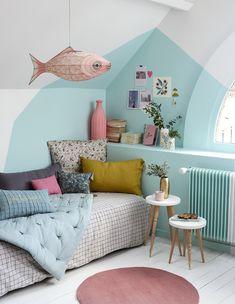 DIY déco: peindre un mur pour une chambre colorée - Girl Room, Girls Bedroom, Child Room, Baby Room, Bedroom Colors, Bedroom Decor, Design Bedroom, Bedroom Ideas, New Room