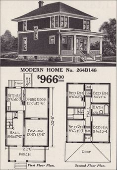Shirtwaist Foursquare House plan, circa 1916, Sears, Roebuck Co. Modern Home No. 264B148 / The Glendale