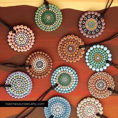 Fire Dot design Painted Wood Pendant by RaechelSaunders on Etsy