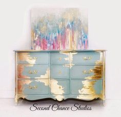 Second Chance StudiosGold Leaf Goddess New Simple DIY Furniture Makeover und Transformation Gold Leaf Furniture, Hand Painted Furniture, Funky Furniture, Refurbished Furniture, Paint Furniture, Repurposed Furniture, Furniture Projects, Furniture Makeover, Antique Furniture