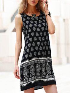 Stylish Scoop Neck Tribal Print Sleeveless Dress For Women