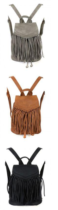 Super cute PU Fringed Drawstring Backpacks for winter for girls.