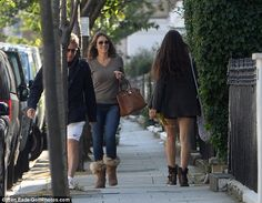 Hugh Grant can't keep his eyes to himself on walk with ex Liz Hurley #dailymail