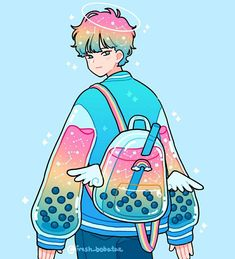 Rainbow boba boy 🌈🌈🌈 decorate the comments w more rainbows! I wanted to try experimenting more with my rainbow palette but this time with… Arte Do Kawaii, Kawaii Art, Cartoon Art Styles, Cute Art Styles, Arte Copic, Japon Illustration, Arte Sketchbook, Cute Kawaii Drawings, Cute Boy Drawing