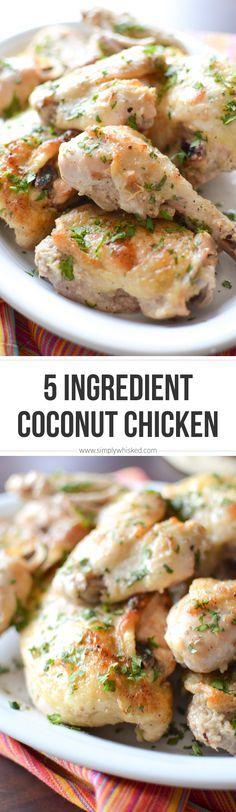 5 Ingredient Coconut Chicken | simplywhisked.com