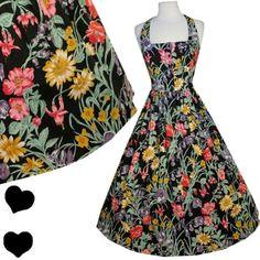 Vintage 80s 50s FLORAL Garden Party Full Skirt Rockabilly Dress M Halter Cotton