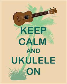 Keep Calm and Ukulele On Art Print Ukulele by FunKeepCalmArtPrints