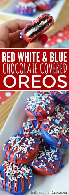 These of July Chocolate Covered Oreos are delicious and so easy to make. It is one of our favorite easy of July Desserts! Make these Red white and blue chocolate covered oreos today! It will be one of your favorite Quick and easy Fourth of July Desserts! Patriotic Desserts, 4th Of July Desserts, Fourth Of July Food, 4th Of July Party, Holiday Desserts, Holiday Treats, Holiday Recipes, Fourth Of July Recipes, Holiday Fun