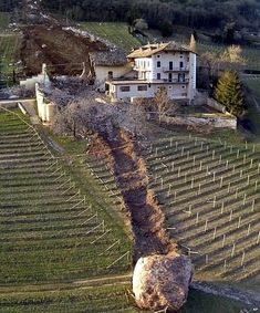 Boulder smashes through Italian farm!