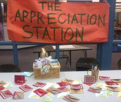 "Teacher Appreciation ""Appreciation Station"" (ask parents for notecard donations) Hollyhocks & Honeybees"
