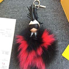 9c62f68f5810 Fendi Karl Pompon Bag Charm Black And Red Fur Fashion Show 2015 Fendi Bag  Charm