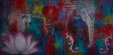 #Original #Abstract #Painting #Encaustic #MixedMedia #India #Art #Wax #Sacred #Lotus #Elephant #Cow