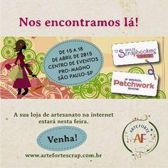 Está chegando a tão esperada Feira 12ª Brazil Scrapbooking Show e este ano ela será realizada também com a 9º Brazil Patchwork Show.  Você não pode perder, garanta já o seu ingresso.   Visite nossa loja online: http://www.artefortescrap.com.br/loja/