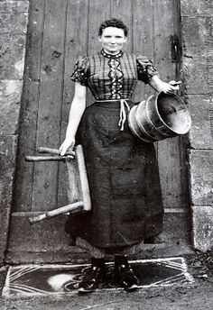 Tour Scotland Photographs: Old Photograph Milk Maid Scotland