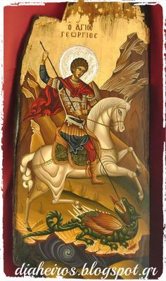 Christian Prayers, Christian Art, Religious Paintings, Religious Art, Hl Georg, Patron Saint Of England, Greek Icons, Saint George And The Dragon, Saint Georges
