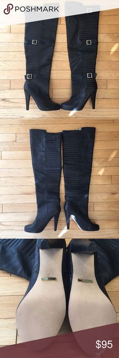 """Matiko """"Cadie"""" Black Over-the-Knee Boot 8M Matiko, pre-owned w/o box, Black over the knee boot from Anthropologie! Great condition, like new!  Gorgeous leather uppers with quilted moto detail, and gold buckles along the shaft. Pull on style. Size 8. Shaft measures Approx 25"""" in height. Approx 4"""" heels. Check out the photos :)  I've never worn them, they've just been sitting nicely in my closet. Please know your size in this brand boot, as I believe it may run small. These come from a…"""