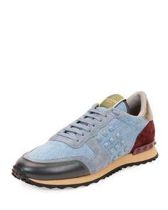 N3TDC Valentino Rockstud Denim & Leather Trainer Sneaker, Light Blue