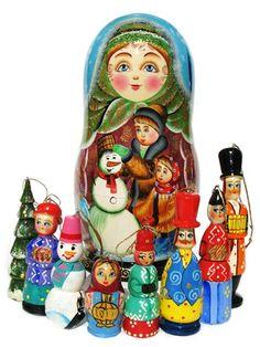 "Snowman Russian Matryoshka Christmas Ornament Set 9""H"
