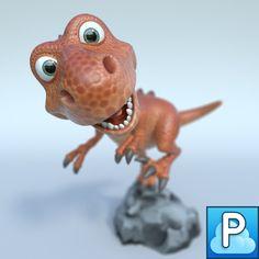 T Rex Cartoon 3D Obj - 3D Model