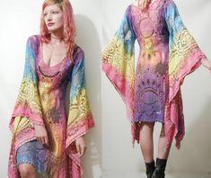 Lace Dress OMBRE Rainbow Festival Bell Angel sleeve Tie-dye VINTAGE Tunic 70s Bohemian Hippie vtg Cotton Pastel Sheer XS S