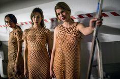 Backstage in Zurich: Models clad in Danit Peleg's 3D printed designs awaiting their turn on the catwalk (Wongwannawat)