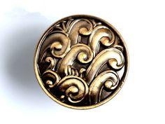 Dresser Knobs Drawer Knob Pulls Knobs Handles Antique Brass Embossed Motif Unique by ARoseRambling, $4.90