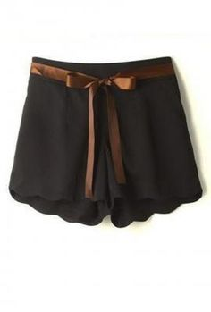 Sunday Brunch Scalloped Shorts in Noir   Sincerely Sweet Boutique